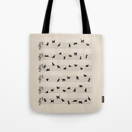 Cute Conceptual Cat Song Music Notation Tote Bag