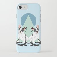pugs iPhone & iPod Cases featuring Pugs (Blue) by Anna McKay
