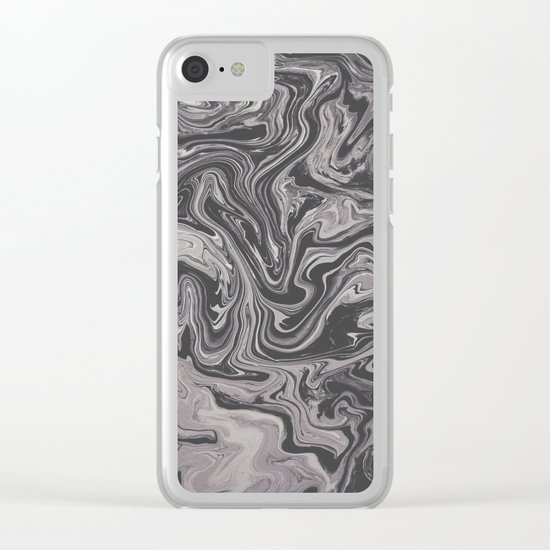 Black and Gray - Little Swirl Clear iPhone Case