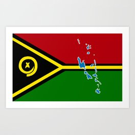 Vanuatu Flag with Map of Vanuatu Art Print