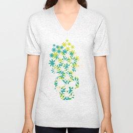 Flowers on the head. Unisex V-Neck