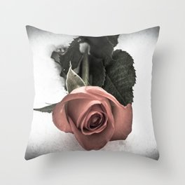 Rose resting in the snow Throw Pillow