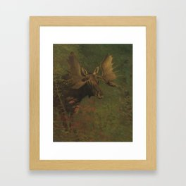 Vintage Painting of a Bull Moose Framed Art Print