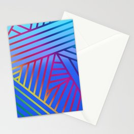 Rainbow Ombre Pattern with Blue Background Stationery Cards