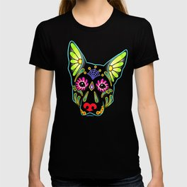 German Shepherd in Black - Day of the Dead Sugar Skull Dog T-shirt