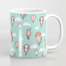 Hot Air Balloons - coral and mint Coffee Mug
