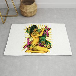 Skate GIRL with Tattoo - PINK Rug
