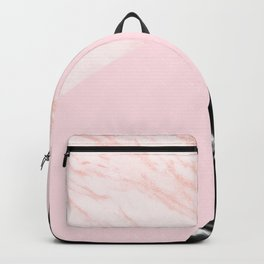 pink and black marble geometric Backpack
