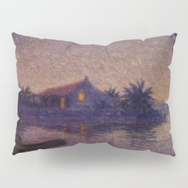 Moonlight Lagoon tropical landscape painting by Anna Woodward Pillow Sham