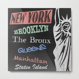 New York Boroughs Tourism Poster Metal Print
