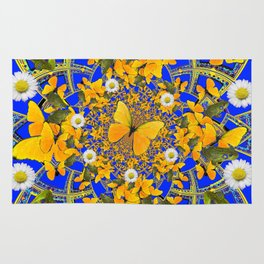 GREEN FROGS & BUTTERFLY WHITE DAISIES BLUE MANDALA Rug