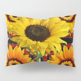 SOUTHWESTERN  BLACK COLOR YELLOW SUNFLOWERS ART Pillow Sham