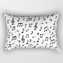 Music notes in black and white Rectangular Pillow