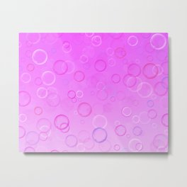 Colorful bubbles on a pink background. Metal Print