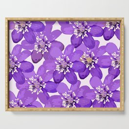 Purple wildflowers on a white background - spring atmosphere Serving Tray