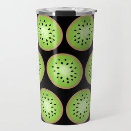 Kiwi Pattern  |  Black Background Travel Mug