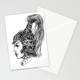 Lady with a helmet Stationery Cards