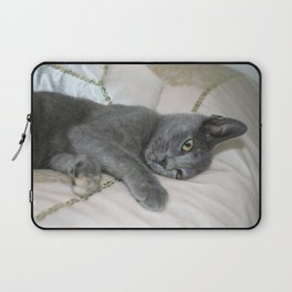 Grey Kitten Relaxed On A Bed  Laptop Sleeve
