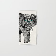 Tribal Elephant Black and White Version Hand & Bath Towel