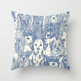 dogs aplenty classic blue pearl Throw Pillow