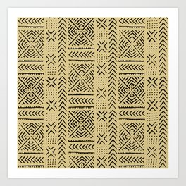 Line Mud Cloth // Tan Art Print