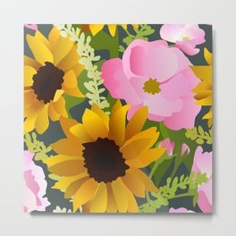 Sunflowers and Roses Metal Print