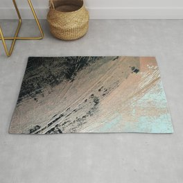 Landslide: a pretty, minimal abstract piece in pink, and blues Rug