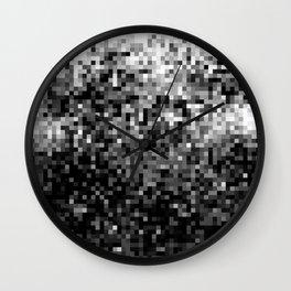 Black  & White Pixels Wall Clock
