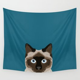 Ezra - Siamese Cat, Cute Kitten Retro Cat Art cell phone case, siamese, cute cat Wall Tapestry