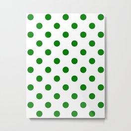 Polka Dots - Green on White Metal Print