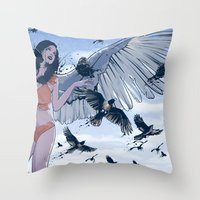 raven Throw Pillows featuring Raven by Radical Ink by JP Valderrama
