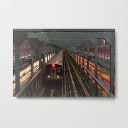 New York City Subway Crossing the Bridge Metal Print