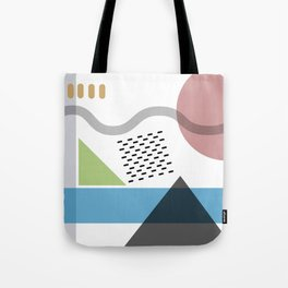 Geometric abstract art, pastel tones shapes and dots print Tote Bag