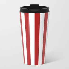 Narrow Vertical Stripes - White and Firebrick Red Travel Mug