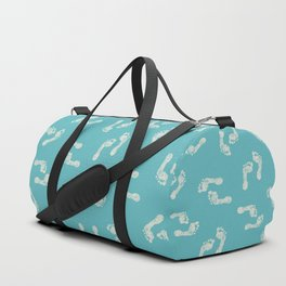 Beach Series Aqua - White footprints on turquoise background Duffle Bag