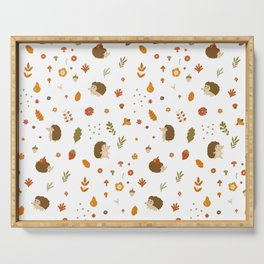 children hedgehog pattern, forest design Serving Tray
