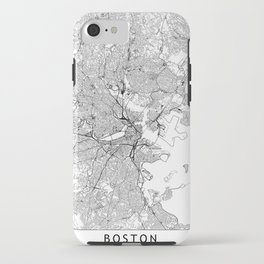 Boston White Map iPhone Case