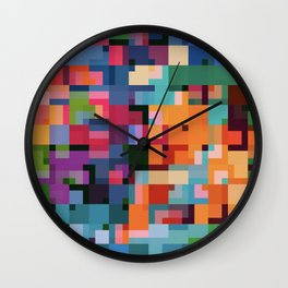 Colorful Squares Abstract Art Decim8 Home Decor Gift Wall Clock