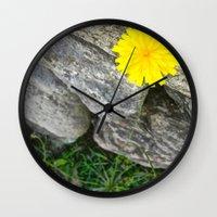 vermont Wall Clocks featuring Vermont Dandelion by Savanna Mulvaney