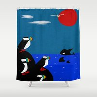 puffin Shower Curtains featuring Puffin Rock by V.L. Durand