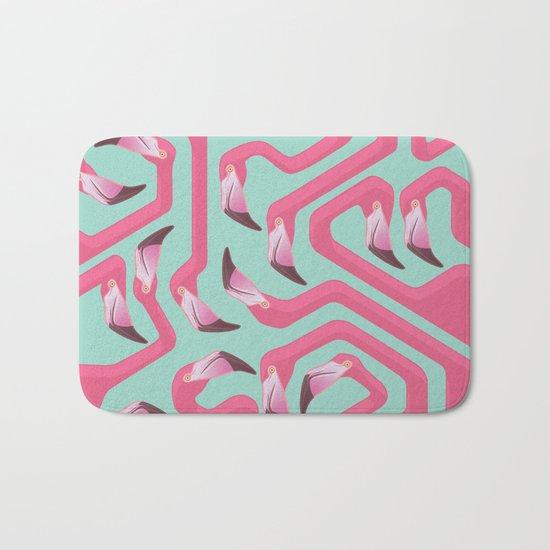 Flamingo Maze on beach glass background. Bath Mat