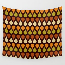 Brown retro 60s color drop pattern Wall Tapestry