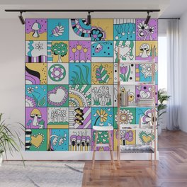 Inchie Doodle Design - Aqua Yellow - Spring Wall Mural