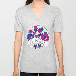 Bi Pride Flowers Unisex V-Neck