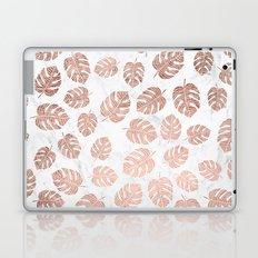 Modern tropical leaf monstera rose gold hand drawn illustration on white marble Laptop & iPad Skin