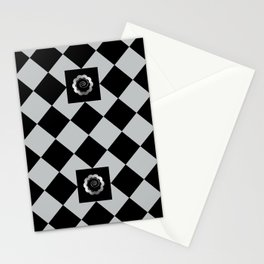 Metallic look grey and black abstract floral checkered pattern Stationery Cards