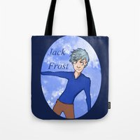 jack frost Tote Bags featuring Jack Frost by AlysIndigo