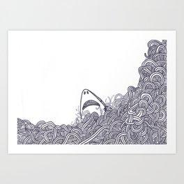 Peeking Shark Art Print