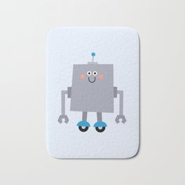 Cute Vintage Robot on wheels Bath Mat
