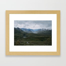 Green Mountains in Denali National Park Framed Art Print